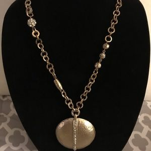 Chico's long gold chain with statement pendant
